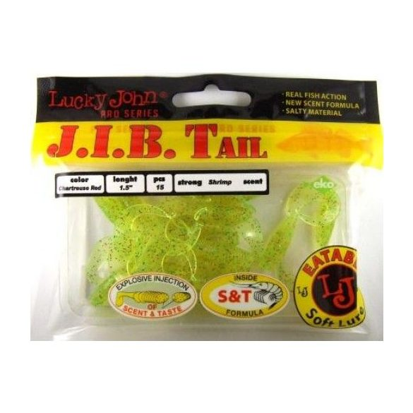 "Lucky John J.I.B. Tail 2"" (5cm) Chartreuse Red No.: S-15"